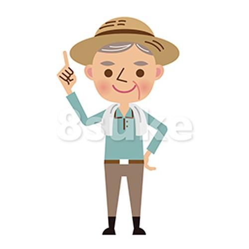 イラスト素材:指差しをする年配の農夫(ベクター・JPG)