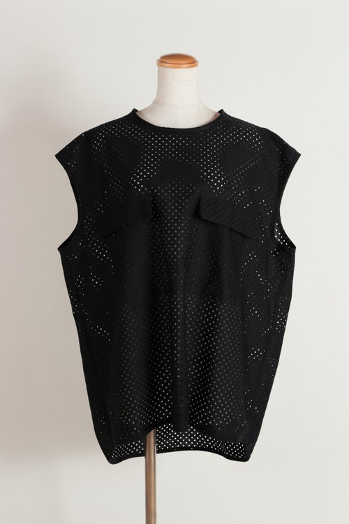 cotton mesh sleeveless TEE