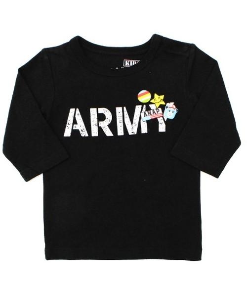 [キッズ]ARMYロゴ7分袖ロンT