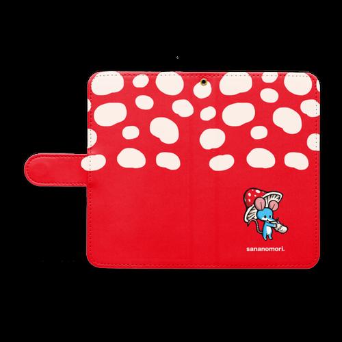 手帳型Androidケース-野ねずみとキノコ
