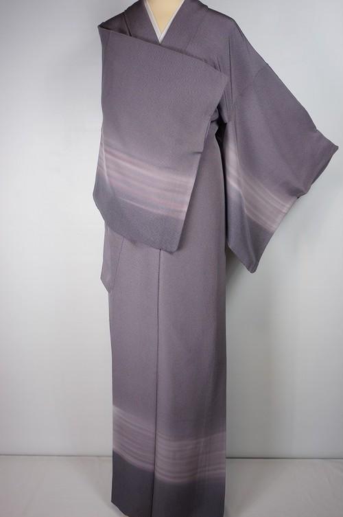 鮫小紋 付下げ色無地 一つ紋 正絹 ちりめん 鳩羽色 紫 481