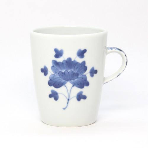 染付伊万里牡丹格子紋筒型マグカップ