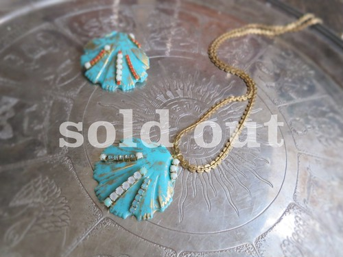 vintage necklace shell <ncSHL-TQ1>