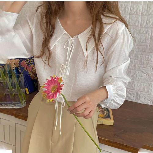 ブラウス 長袖 前後2WAY 韓国 ファッション レディース オルチャン 春 夏 秋 リボン ガーリー