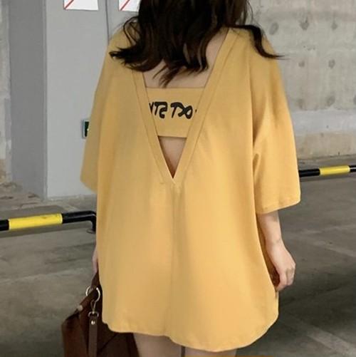 【トップス】売れ筋アバンギャルドバックレスゆったりセクシー半袖Tシャツ