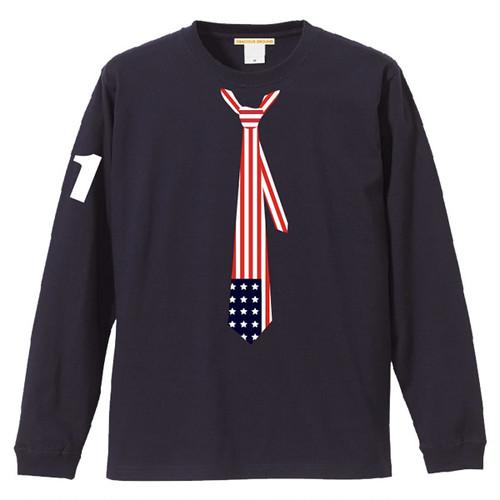 だまし絵 星条旗 ネクタイ Tシャツ 長袖 ネイビー
