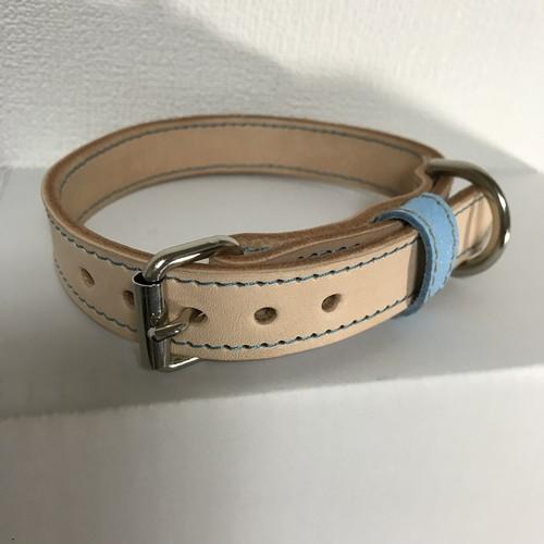 ヌメ革生成り 中型犬用 革首輪 30cm~36cm