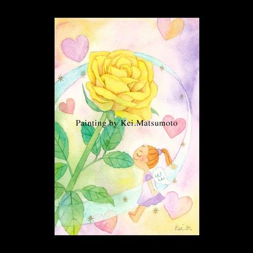 水彩作品【黄色いバラ】