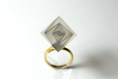 "3D printed ring ""Trapped Cube"" / リング"