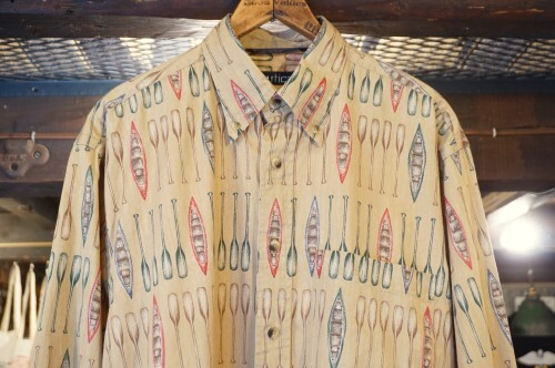 90's NAUTICA canoe and paddle printed cotton Shirt