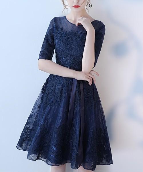*ミッドナイトレースドレス* イブニングドレス パーティー ブルー ネイビー ワンピース