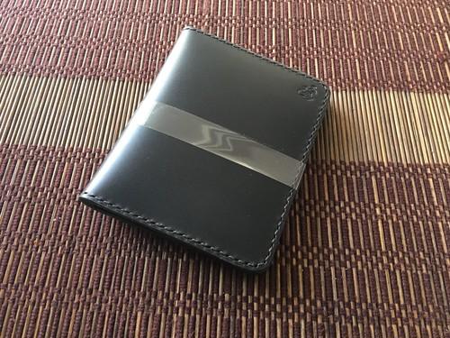 カードケース 革:黒 糸:黒