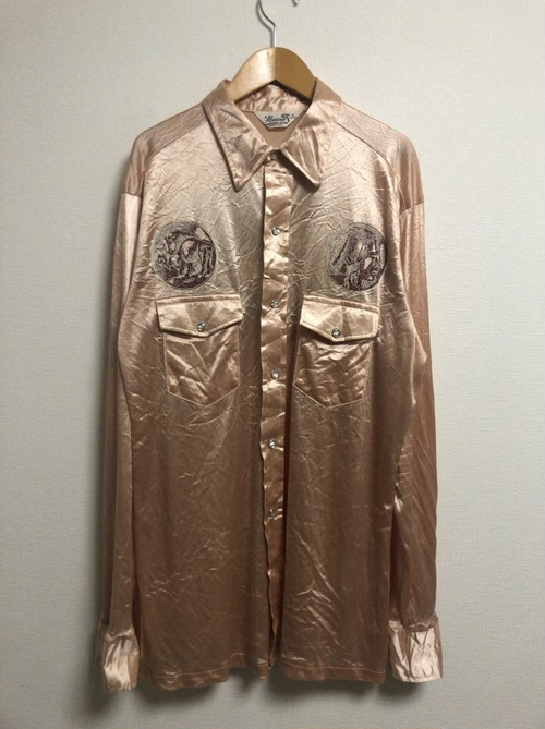70's buffalo indian satin western shirt
