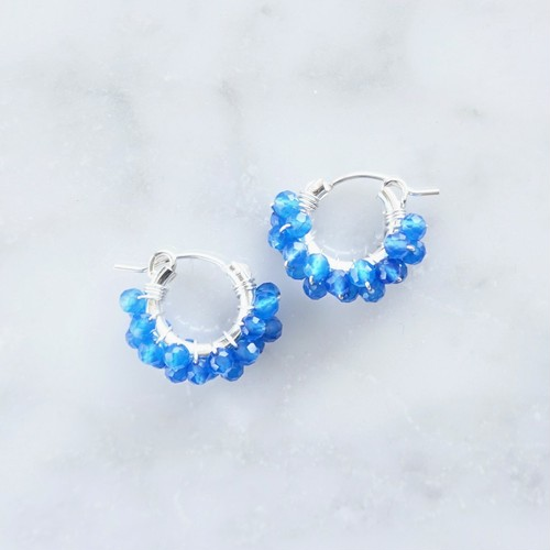 SV925SF*AAA Blue Agate wrapped pierced earring / earring