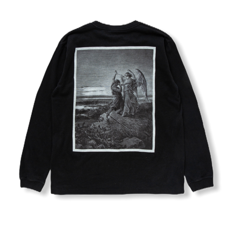 """Long Sleeve T-shirt """"Jacob Wrestles with the Angel"""" BLACK"""