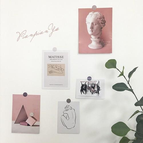 ポストカードセット ピンク 彫刻