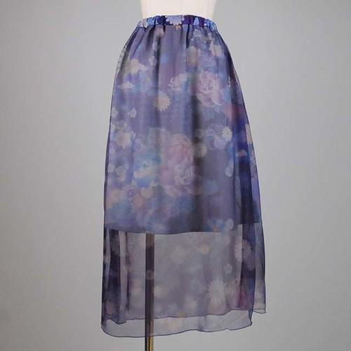 gouk 透ける和柄のスカート  GGD26-S008 BL/M
