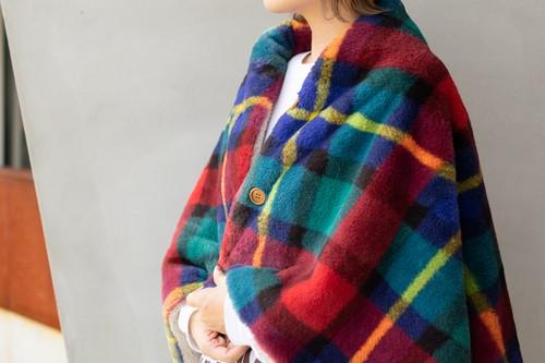 <数量限定> Check Fur Poncho Blanket