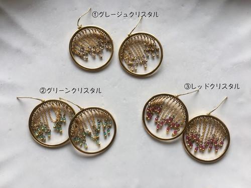 【即納・送料無料】 デザインチェーン クリスタル付 フープピアス