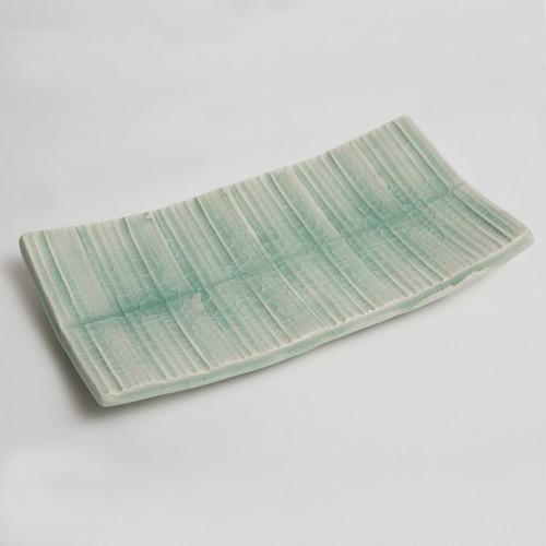 灰青磁折紙型筋紋焼物皿