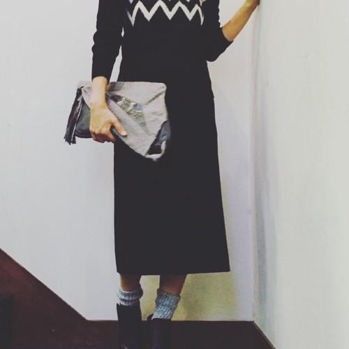 Vintage ドットロングタイトスカート