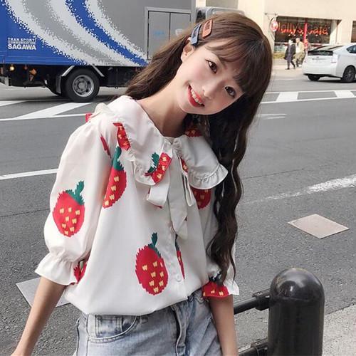 【トップス】新作ファッション春プリント清新合わせやすい五分袖シャツ