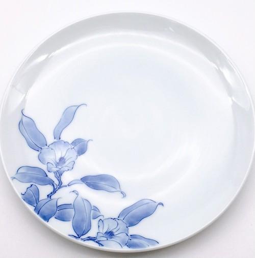 五彩 椿 丸6寸皿