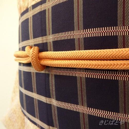 正絹 オレンジシャーベット色の帯締め