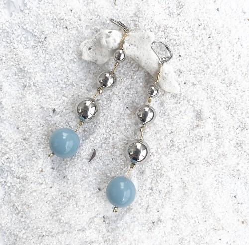 Silver PONPON Pierce/Earring