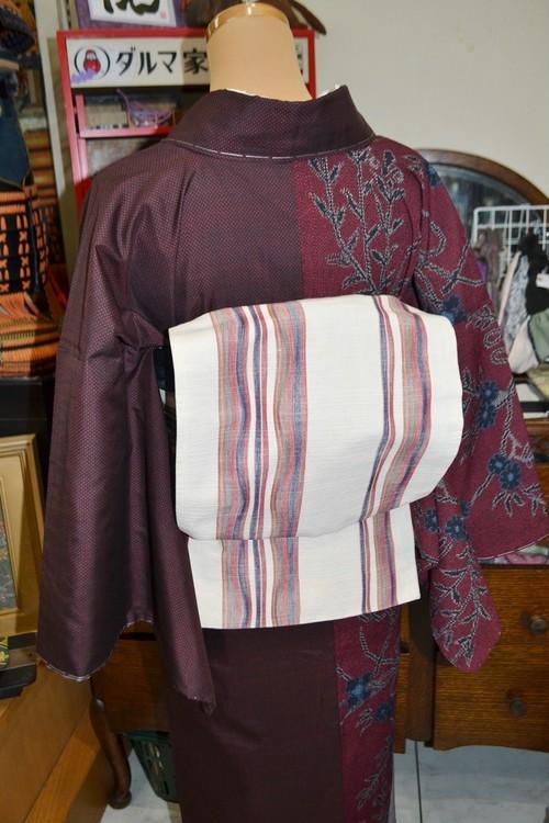 【京袋帯】リバーシブル赤&キナリにマルチボーダーのよろけ縞