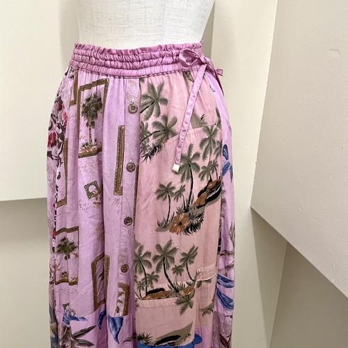 【RehersalL】 aloha flare skirt(pink) /【リハーズオール】アロハフレアスカート(ピンク)