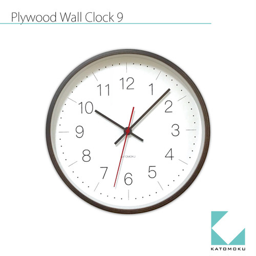 KATOMOKU plywood wall clock 9 km-75B ブラウン
