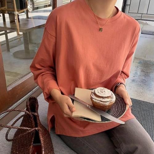 【トップス】無地細見せ長袖Tポロシャツ