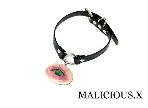 reptiles eye ring choker(circle) / green(skin)