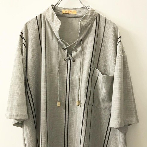 H&F 半袖プルオーバーシャツ グレー size L メンズ 古着