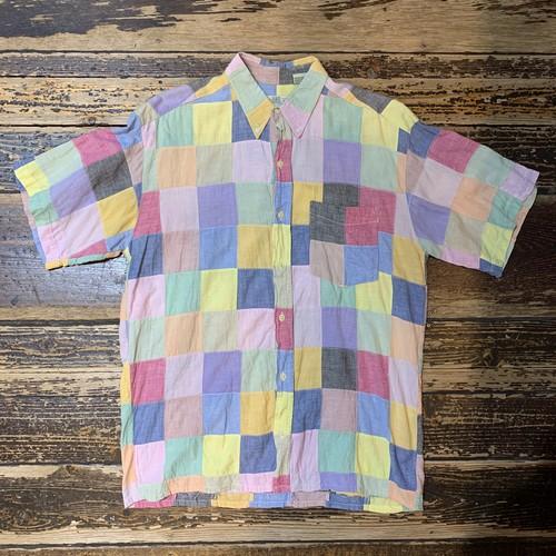 90s ORVIS パッチワークシャツ オービス インド綿 90年代 半袖