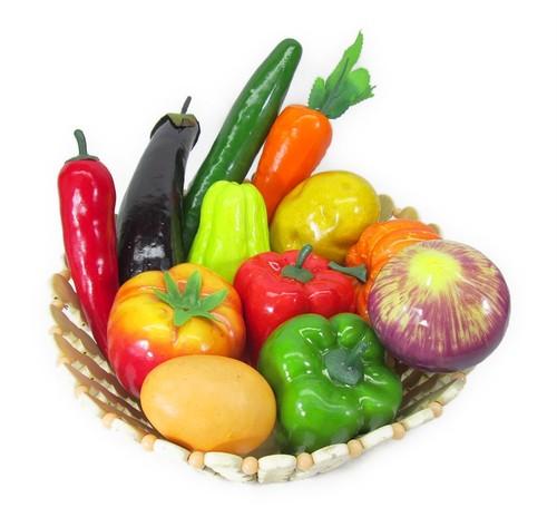 どっさり お野菜 & タマゴ 模型 食品サンプル 12種類セット 竹カゴ入り ディスプレイなどに