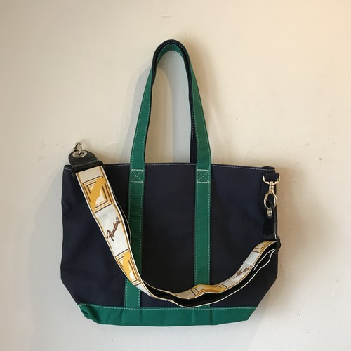 """Middle Strap Tote Strap Tote """"IVY mid"""" (Navy x Green)"""