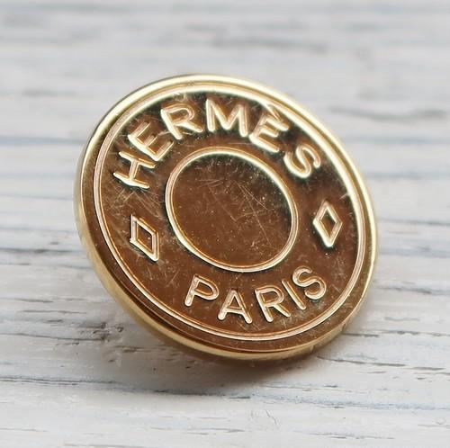 809 HERMES(ヴィンテージ エルメス) セリエ マーク ボタン ゴールド