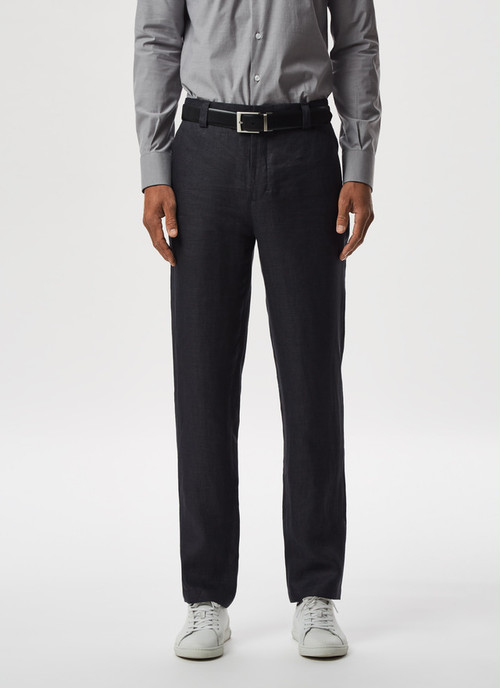 LINEN TWILL TROUSERS WITHOUT DARTS