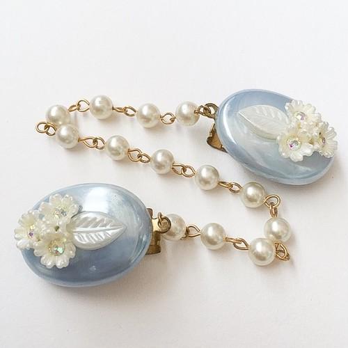 blue & white flower sweater clip[s-202]