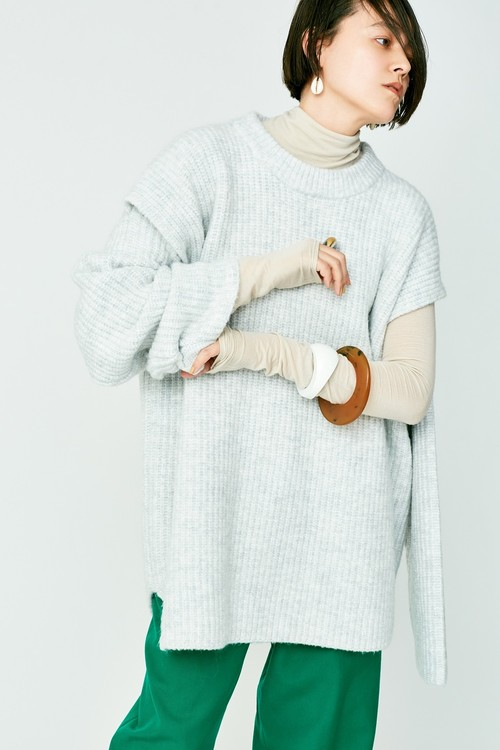 SLIT KNIT PULLOVER - MIX WHITE