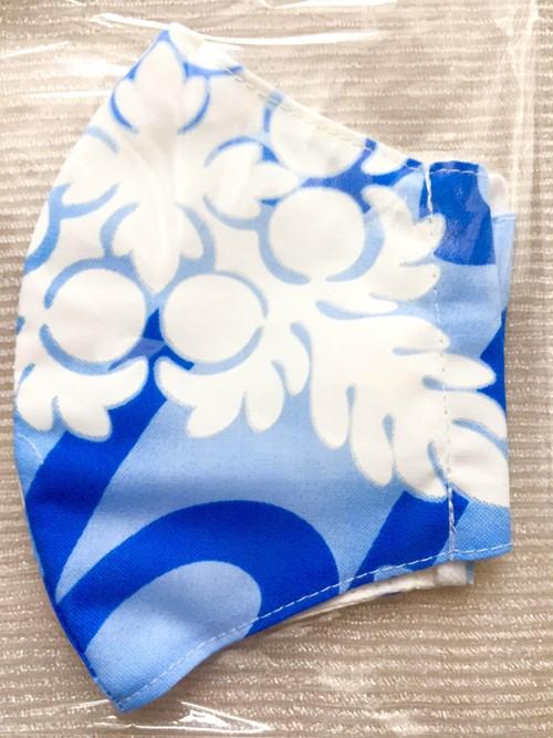 立体布マスク ハワイアンファブリック⑲-L(ブルー-3)