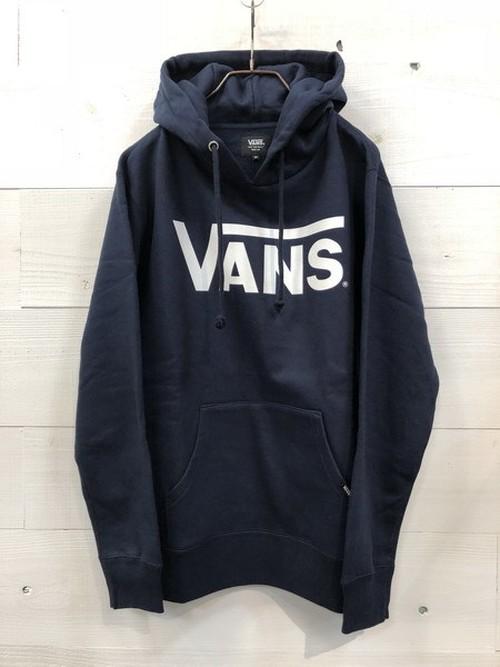 VANS (バンズ) クラシックロゴ プリント プルオーバー パーカー ネイビー VANS-MC01