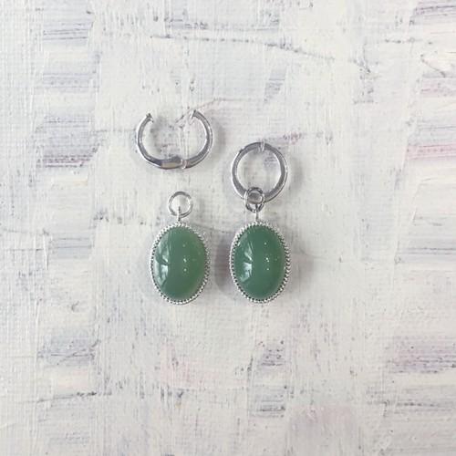 Earring charm  / nephrite (SV925)