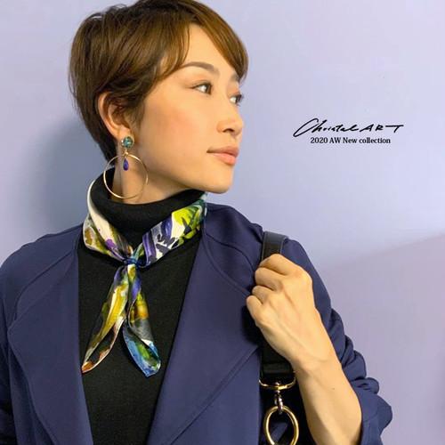 ◆即納◆小判シルクスカーフ「アートペイントパンダ」柄 50cm角
