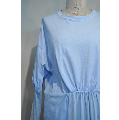 【RehersalL】puff sleeve big T shirt onepiece(sax) /【リハーズオール】パフスリーブビッグTシャツワンピース(サックス)
