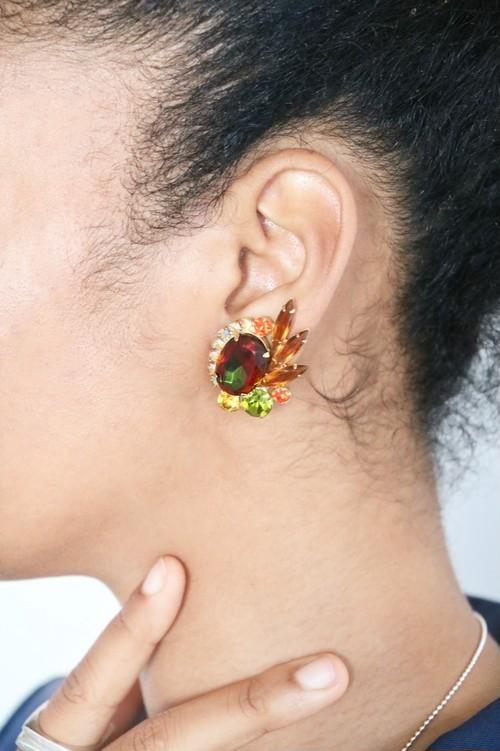 Vintage Juliana Topaz Green Aurora Bijoux Earrings