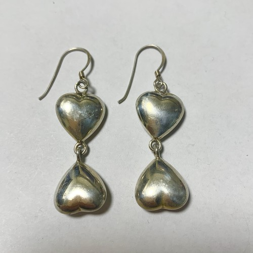 Vintage Heart Shaped  Pirced Earrings Made In Mexico ①