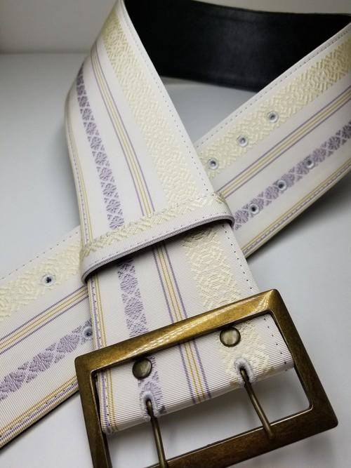 博多織 角帯ベルト 白